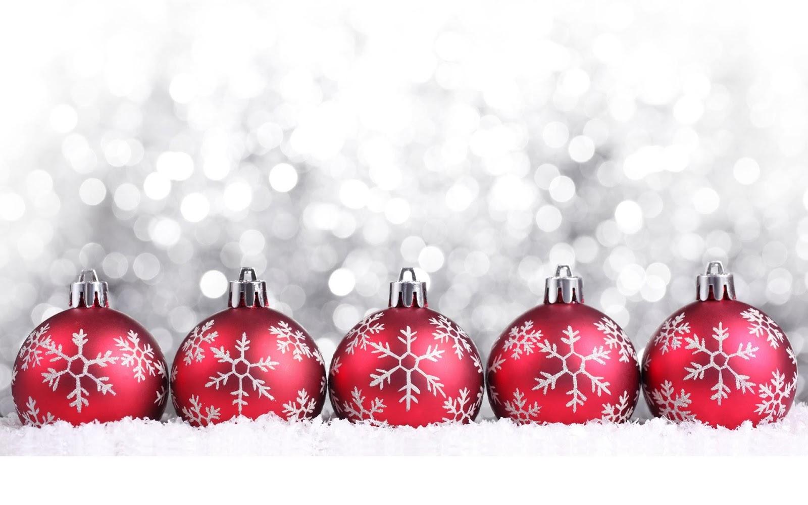 Wallpapernarium cinco bolas de navidad rojas y con - Bolas de navidad rojas ...