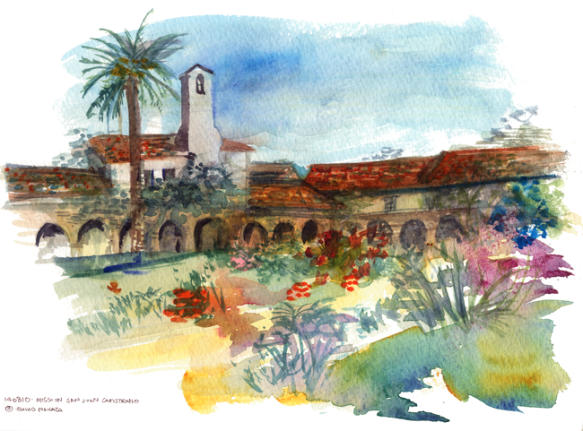 "shiho nakaza ""Los Angeles"" California ""San Juan Capistrano"" watercolor sketching"