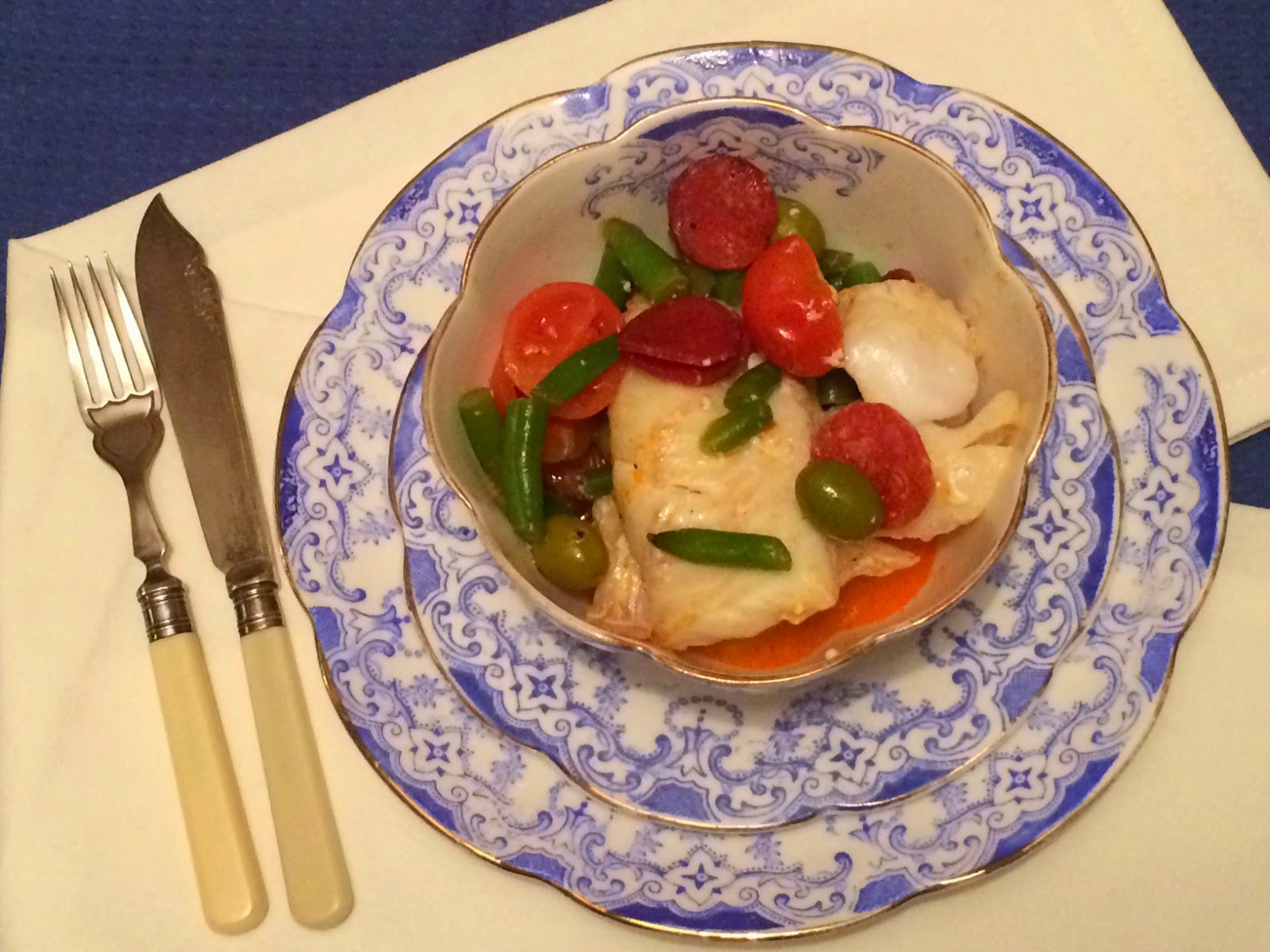 Baked cod with chorizo and olives recipe
