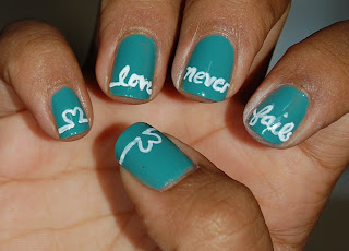 cursive nails, love nails