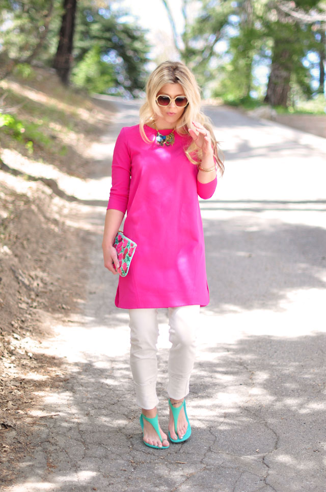 Summer brights, pink and aqua, tibi dress, marc jacobs floral pouch, crocs sandals