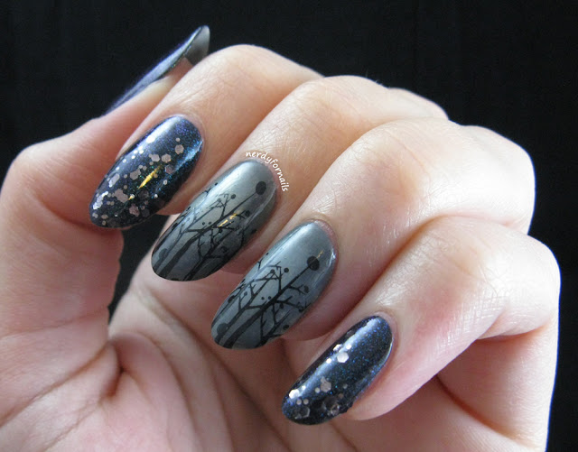 Misty Winter Tree Nail Art