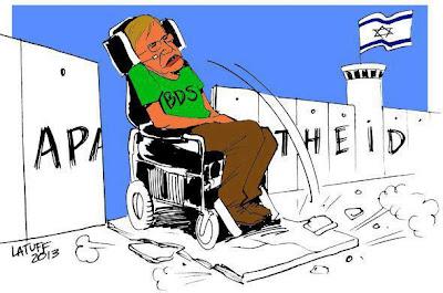O físico Stephen Hawking boicota Israel - Charge de Latuff
