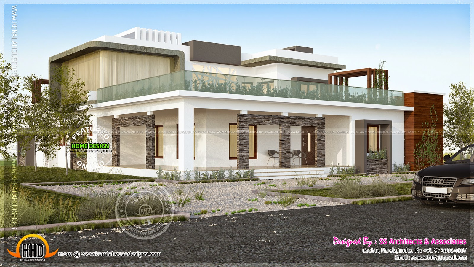 Contemporary house final view - Kerala home design and floor plans