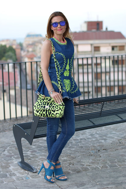 Miss Sicily green bag, Denim on denim trend, peplum top, Fashion and Cookies, Oakley mirror sunglasses
