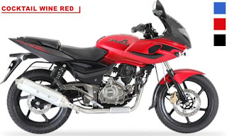 Bajaj Pulsar 220F Dual Colour - Cocktail Wine Red with Black