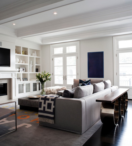 Transitional living room  by Jennifer Worts Design Inc.