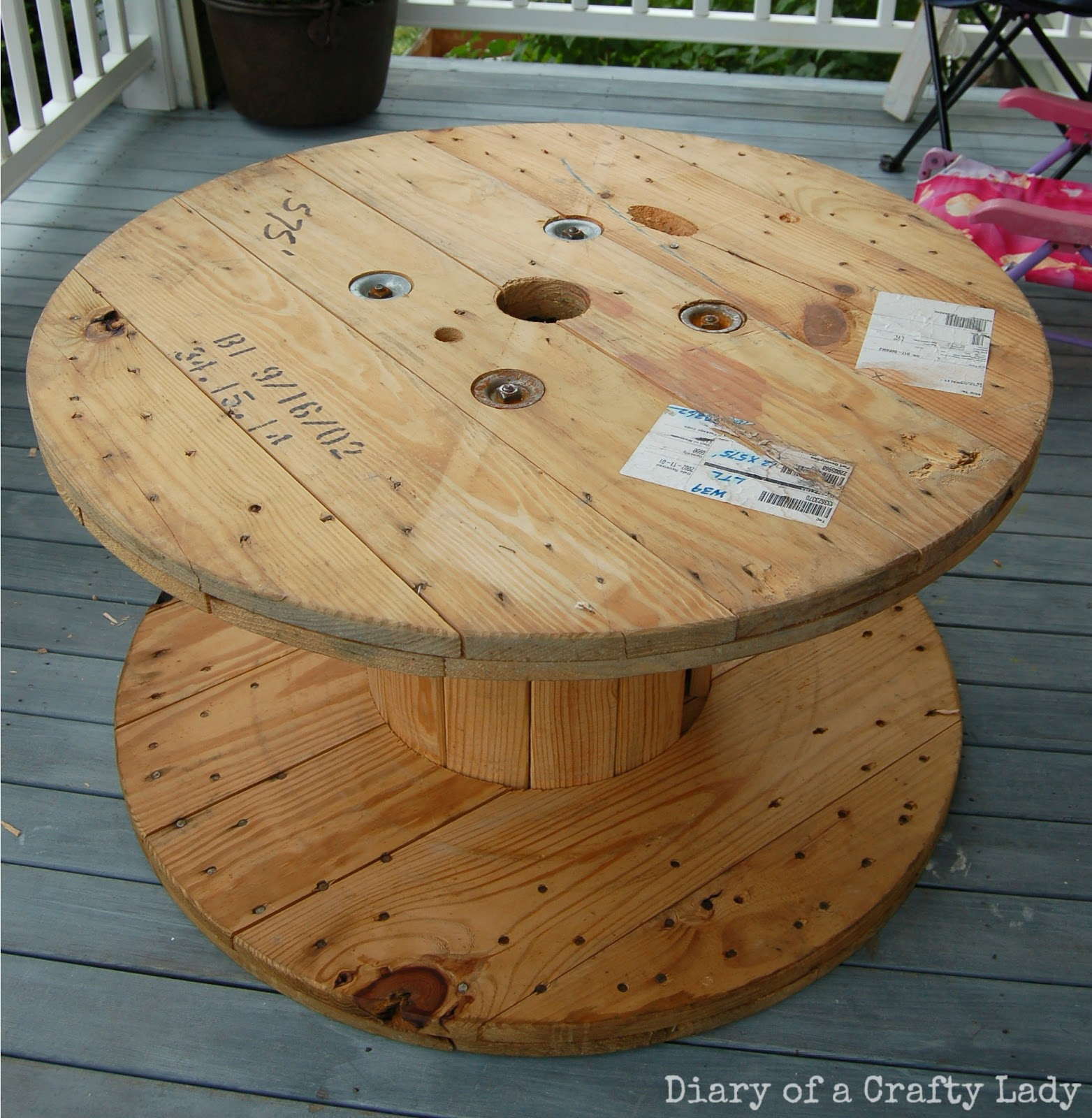 Diary of a Crafty Lady: Wooden Spool Rolling Bookshelf and Stool