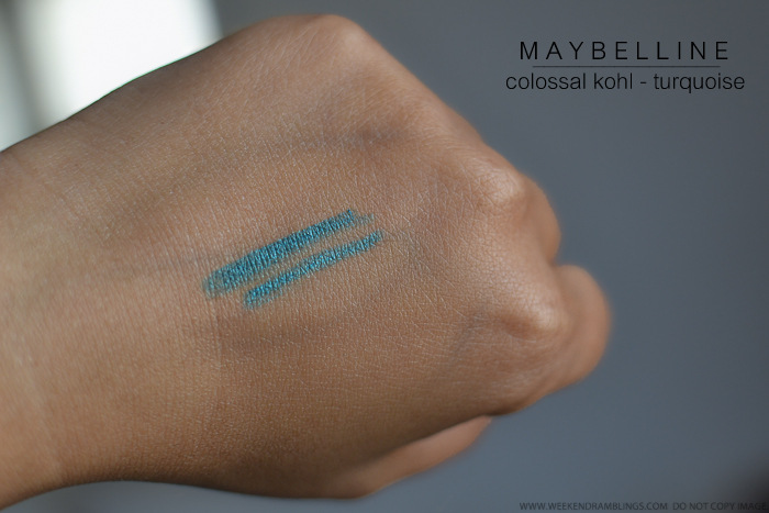 Maybelline India Colossal Kohl Turquoise Swatches
