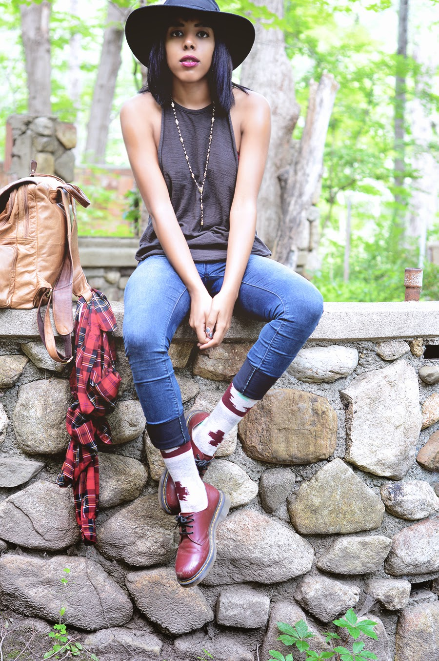 Indie Fashion Blogger Anais Alexandre of Down to Stars in a mountain hiking outfit with stance, free people, asos and doc martens on Mount Taurus for a Mountain Show