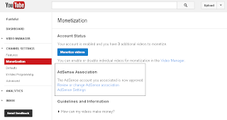 So complete link adsense account with youtube.