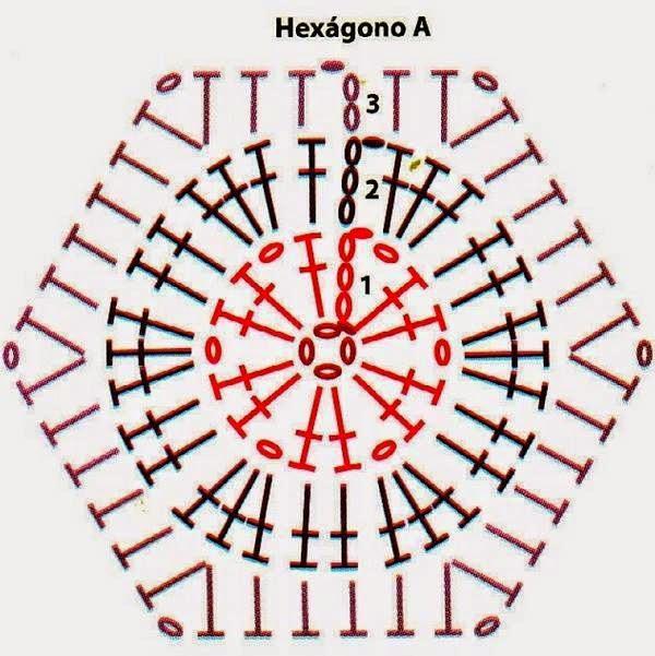 Вязание крючком носки из шестиугольников 76