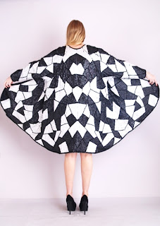 Vintage black and white beaded & sequined geometric art deco style jacket