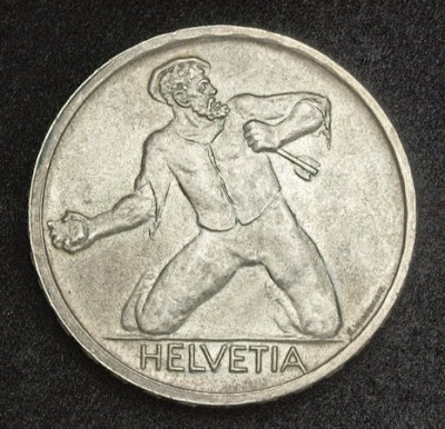 Helvetia Switzerland Silver coin 5 Swiss Francs