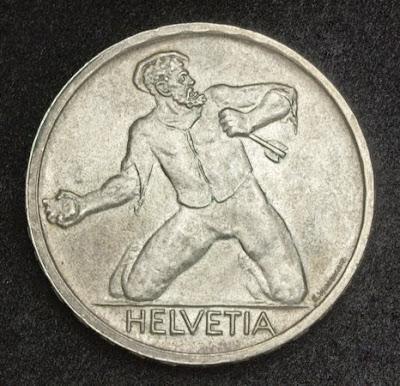 Helvetia Switzerland Silver coin 5 Swiss Francs