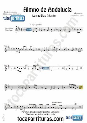 Tubepartitura Himno de Andalucía partitura para Trompeta y Fliscorno Música de José del Castillo y con la letra de Blas Infante