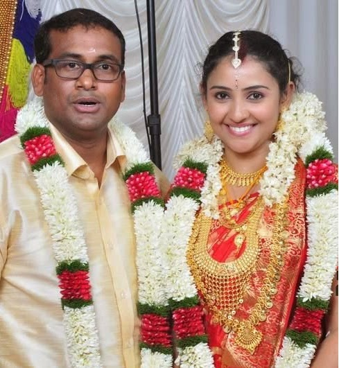 Actress RoopaShree and Assistant director Sabin after the marriage