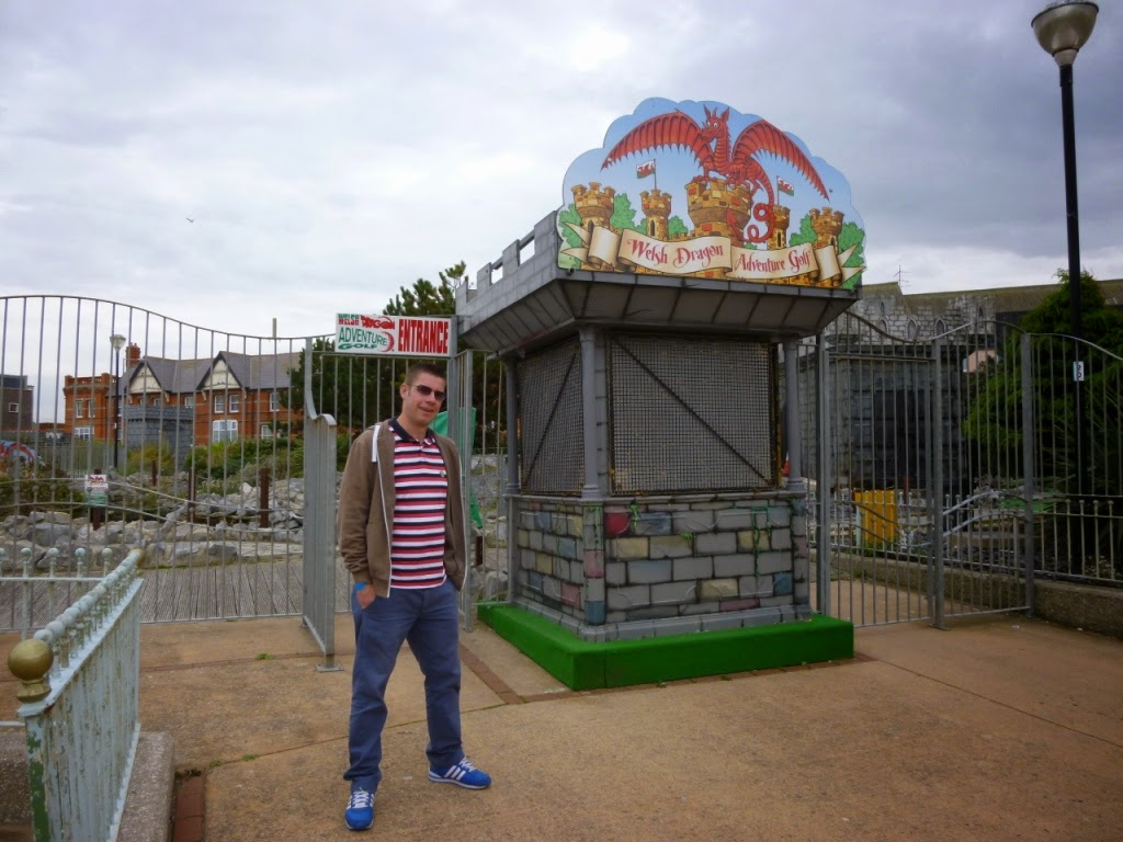 Outside the Welsh Dragon Adventure Golf course in Rhyl