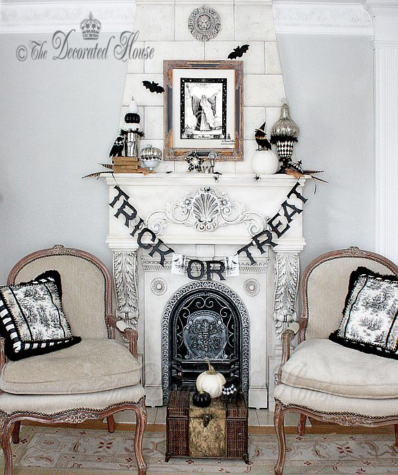 Elegant Black and White Halloween Decorated Mantel :: The Decorated House