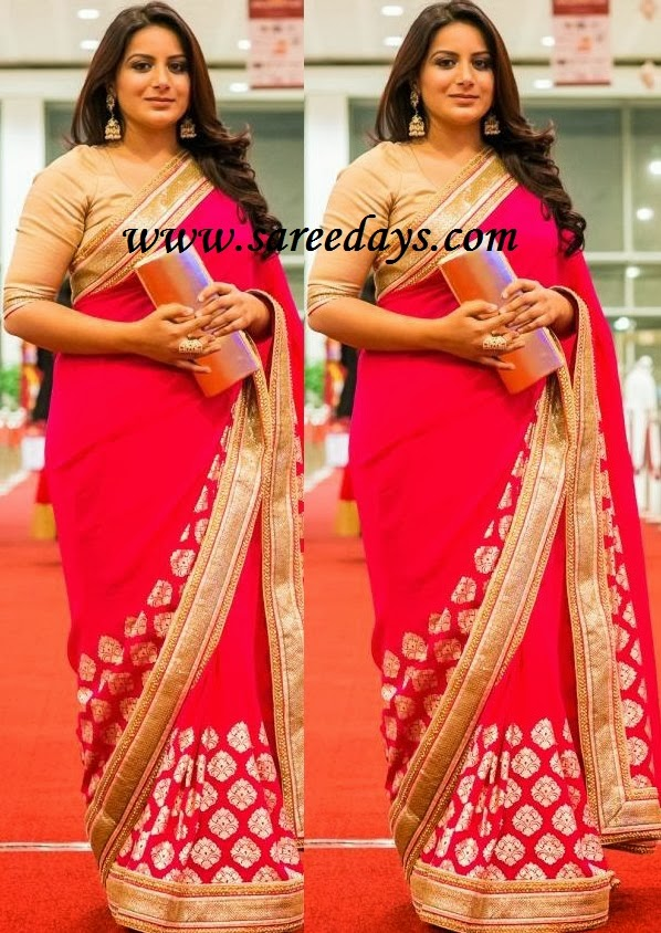 Latest saree designs september 2013 checkout red georgette saree with gold patchwork border and paired with contrast gold half sleeves blouse altavistaventures Image collections