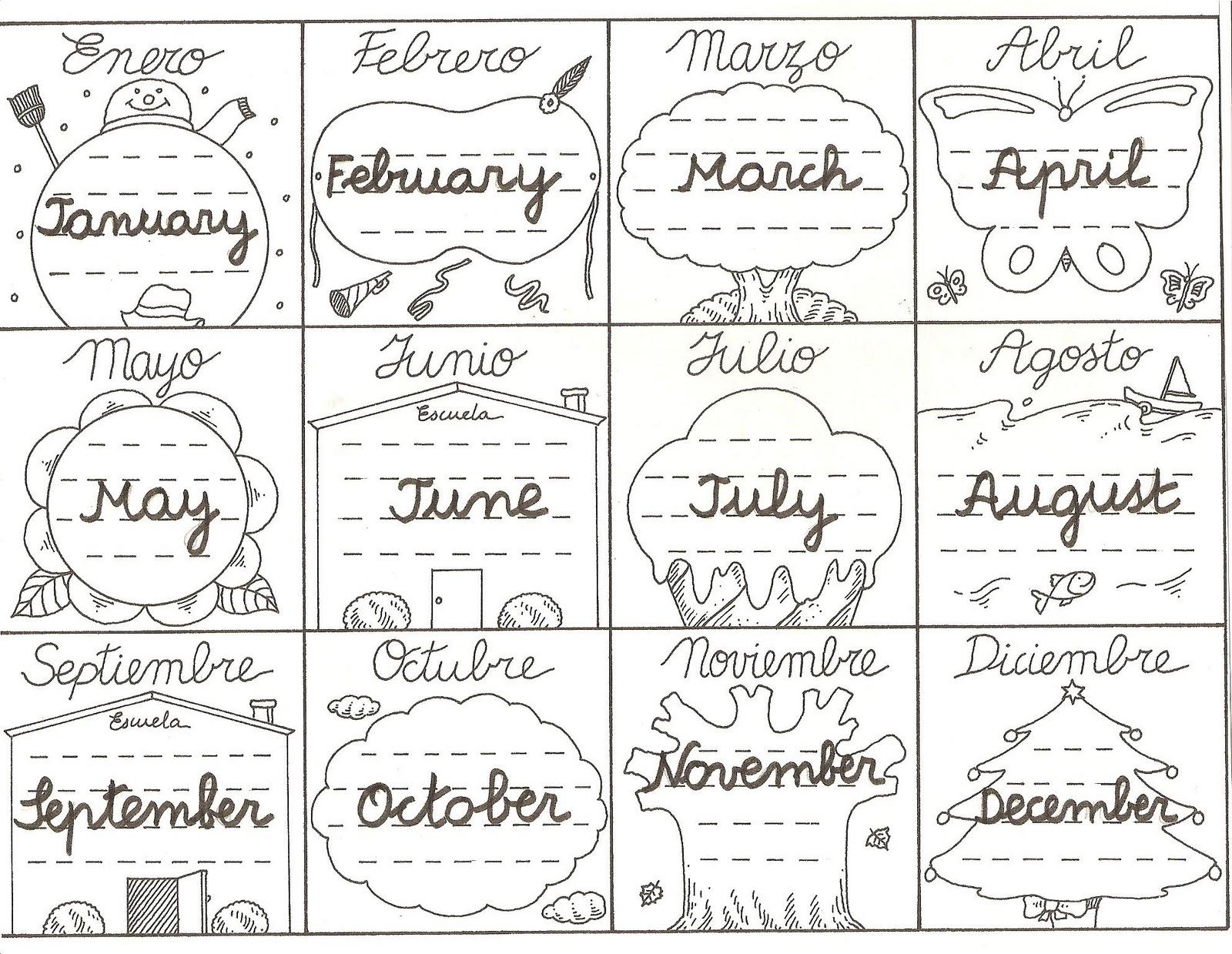 Los Meses Del Ano En Ingles
