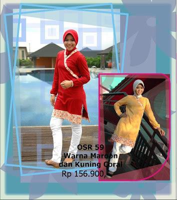 Koleksi Osmoes Kaos Muslimah Trendy Maroon Kuning Coral