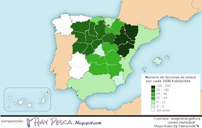 Mapa de densidad de licencias de pesca fluvial