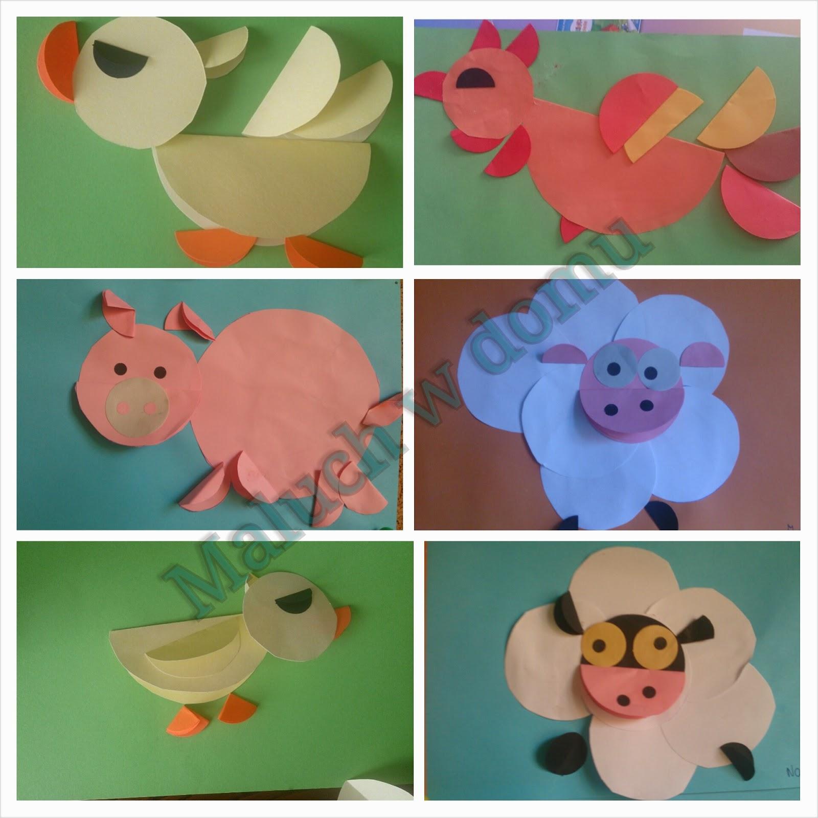 Origami: zwierzątka z wiejskiego podwórka - kogut, świnka, owieczka i  kaczka - Maluch w domu