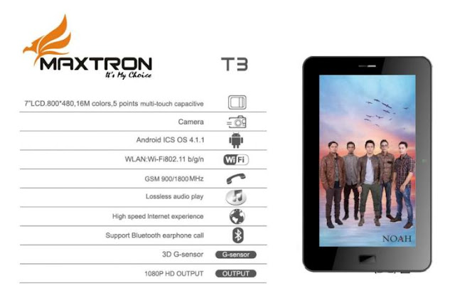 Maxtron T3, Spesifikasi,Harga, Tablet Android ICS, 7 Inci, Murah,Telpon dan SMS,Video Full HD 1080p