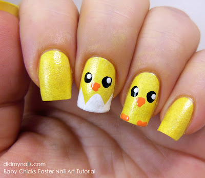 easter baby chick nail art tutorial