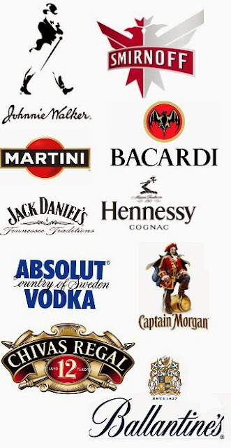 Drinks, Spirits, Top 10, Johnnie Walker, Smirnoff, Bacardi, Martini, Hennessy, Jack Daniel's, Absolut Vodka, Captain Morgan, Chivas Regal, Ballantine's, tapandaola111