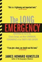 Cover of the Long Emergency, bright yellow with red and black type, and a caution tape stripe down the side
