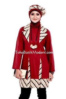 Model Busana Baju  Batik Muslimah Terbaru Modern