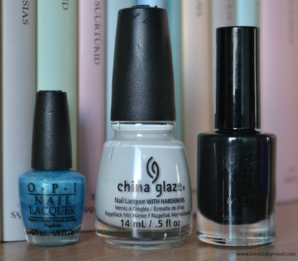 OPI Teal The Cows Come Home, China Glaze White on White, Wild & Mild Matte City of Darks