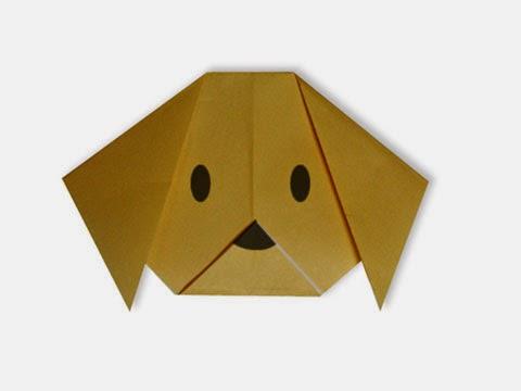 Hướng dẫn cách gấp mặt con Chó bằng giấy đơn giản - Xếp hình Origami với Video clip - How to make a Dog's face