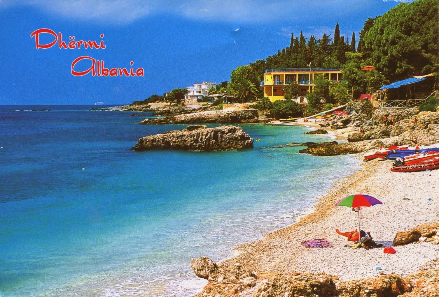 postcard, albania