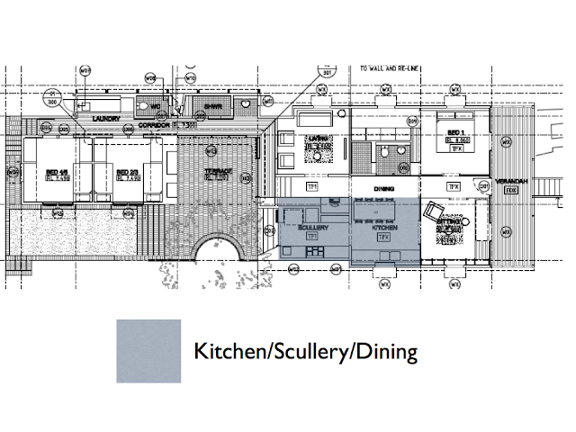 WEST END COTTAGE: Kitchen Plans, and the idea of Food Flow