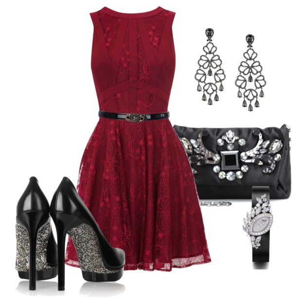 Adorable red dress, black handbag, high heel and earrings