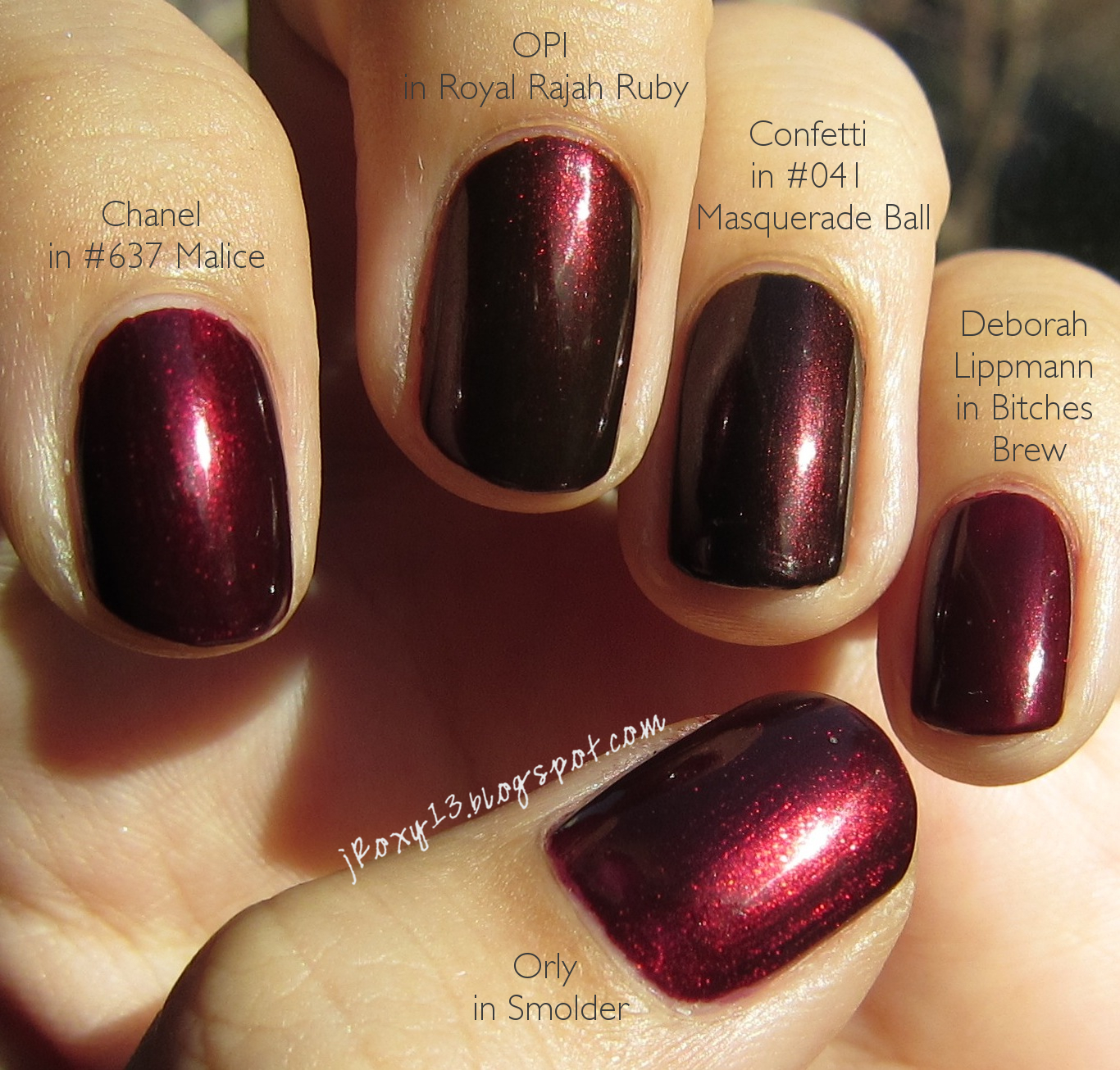 Chanel in #637 Malice Comparisons (15 polishes)