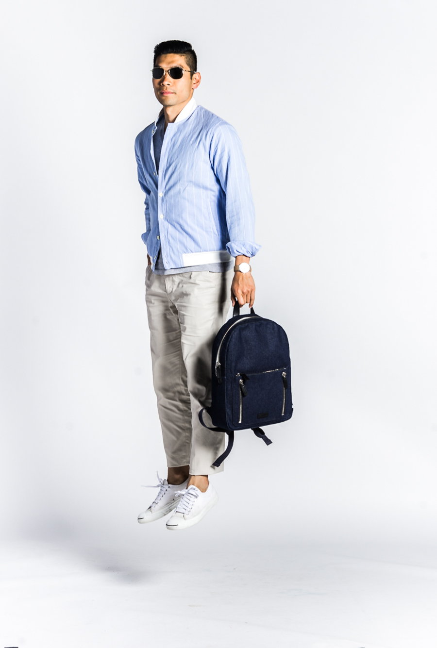 BloggerPROJECT NY Levitate Style | Gant Stripe Shirt Jacket, Uri Minkoff Backpack, Menswear, Project NY