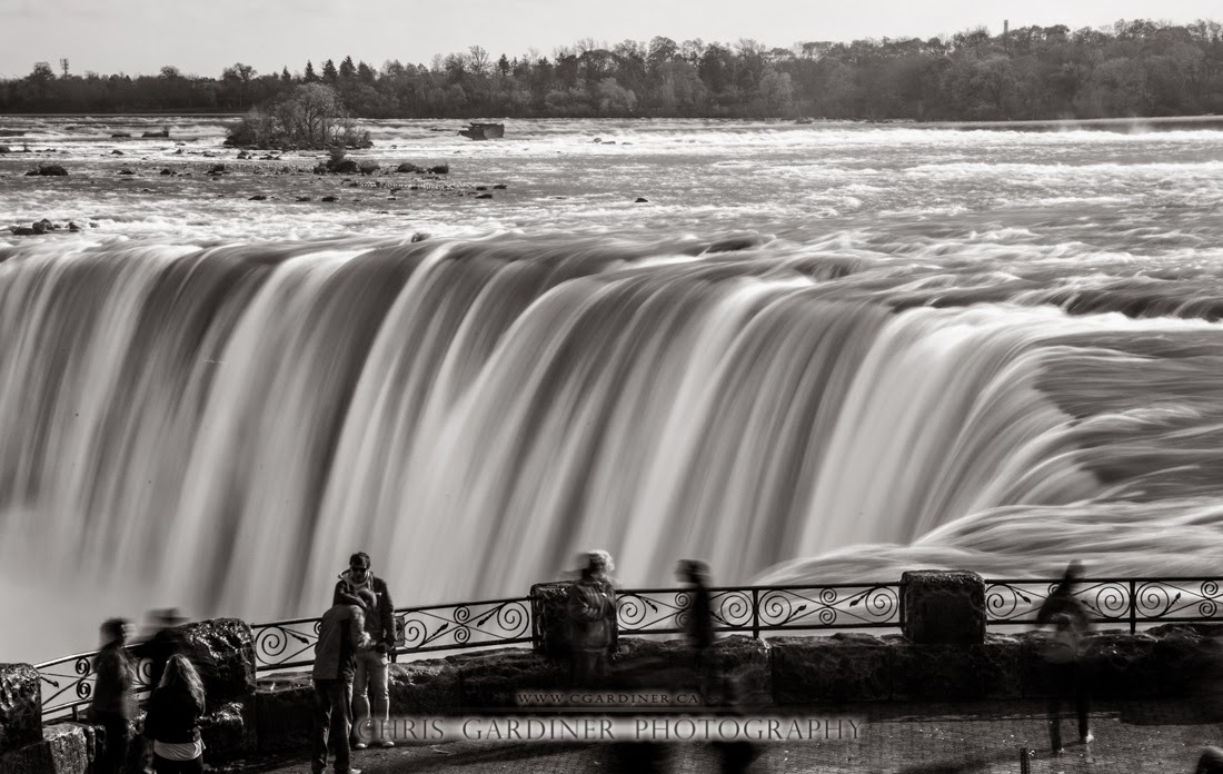 Horseshoe Falls at Niagara Falls scenic Monochrome image captured with a long exposure by Chris Gardiner Photography