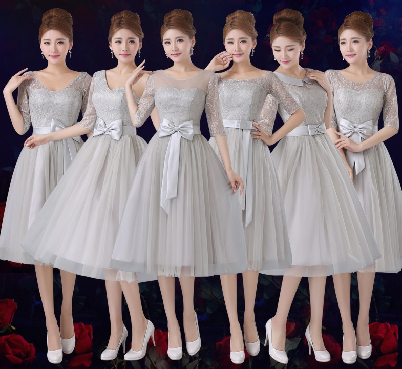 6-Design Half Sleeve Tutu Gray Lace Past Knee Length Bridesmaid Dresses