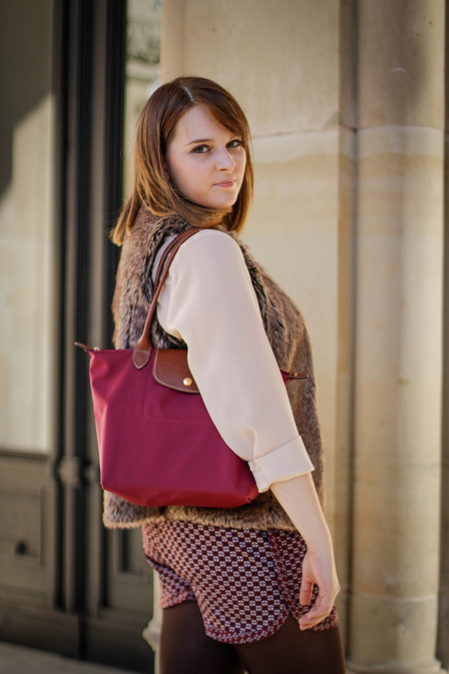 ootd longchamp le pliage purple