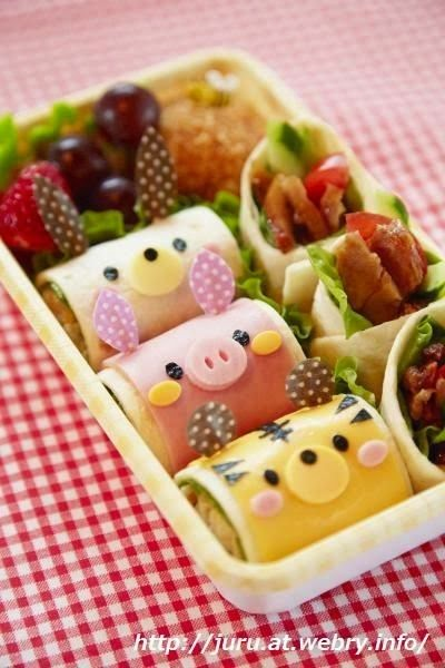 animal roll sandwich bento