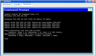 Gambar PC terkoneks dengan PC (Comman Prompt)