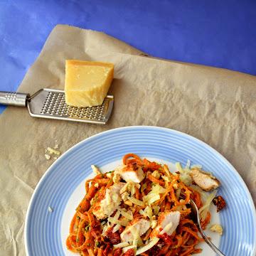 Makaron z pesto, indykiem i suszonymi pomidorami - Czytaj więcej »