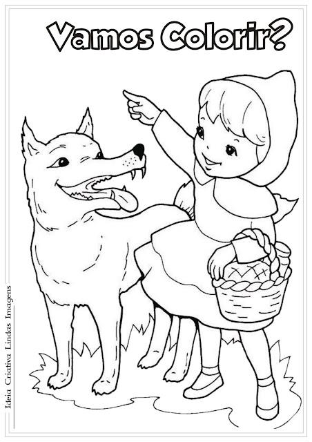 Chapeuzinho Vermelho e o Lobo para colorir