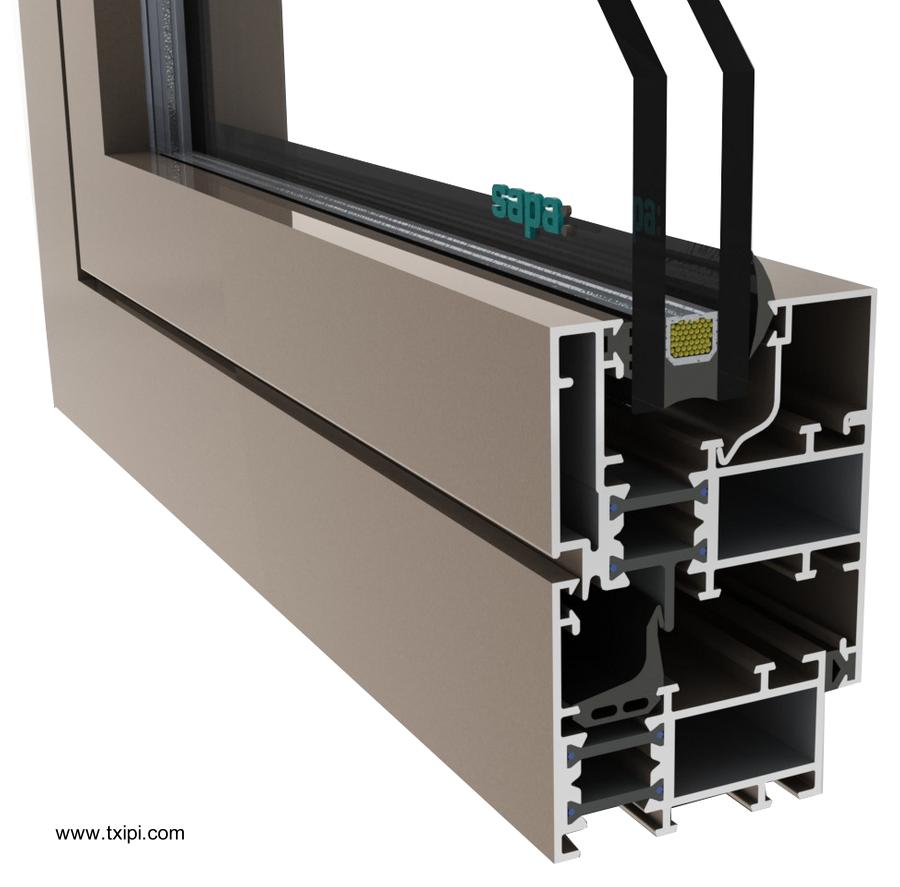 Detalle de perfil de aluminio con doble vidrio para carpintería