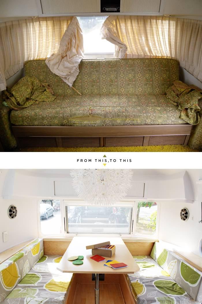 vieja caravana remodelada. El salón