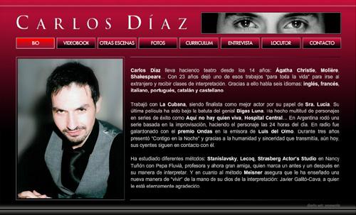 página web oficial del actor Carlos Díaz